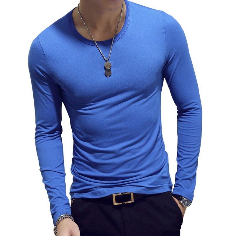 Spring 2019 Men's Long Sleeve O Collar Slim T-shirt Casual Solid Men's Shirt 7 Colors