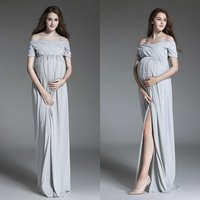 Summer Pregnancy Dress Photography Props Shoulderless Long Maternity Dresses for Pregnant Women Photoshoot Beach Wedding