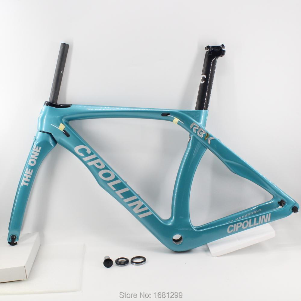 New cyan 700C Racing Road bicycle aero 3K full carbon fibre bike frame carbon fork+seatpost+clamp+headset light parts Free ship