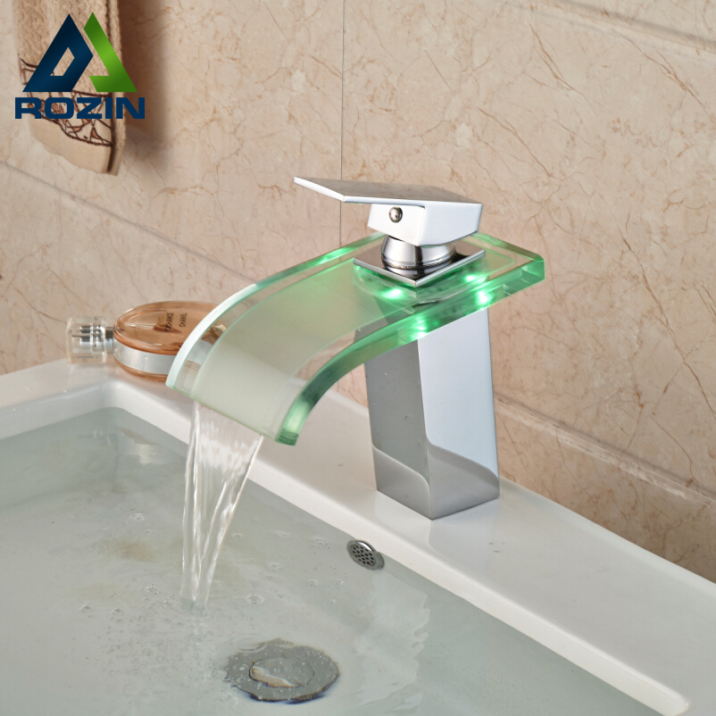 Luxury LED Three Color Changing Basin Sink Faucet Waterfall Glass Spout Bathroom Mixer Tap Single Handle