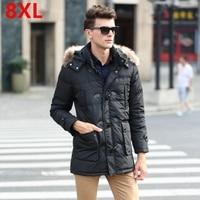 Men's big yards down jacket large size men's winter big yards long section of thick fur collar coat men's cold