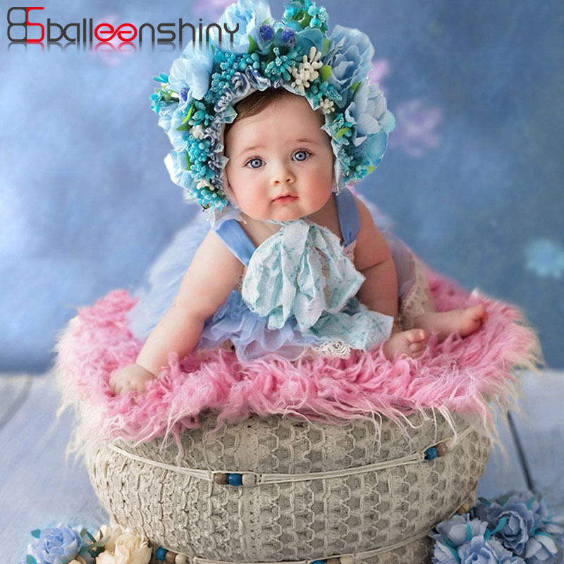 BalleenShiny Baby Headband Baby Girl Headbands Newborn Photograph Props For Full Moon Infant Hair Band Colorful Flower Headwear