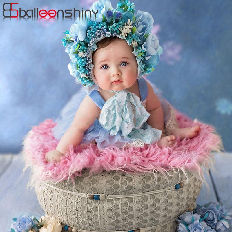 BalleenShiny Baby Headband Baby Girl Headbands Newborn Photograph Props For Full Moon Infant Hair Band Colorful Flower Headwear