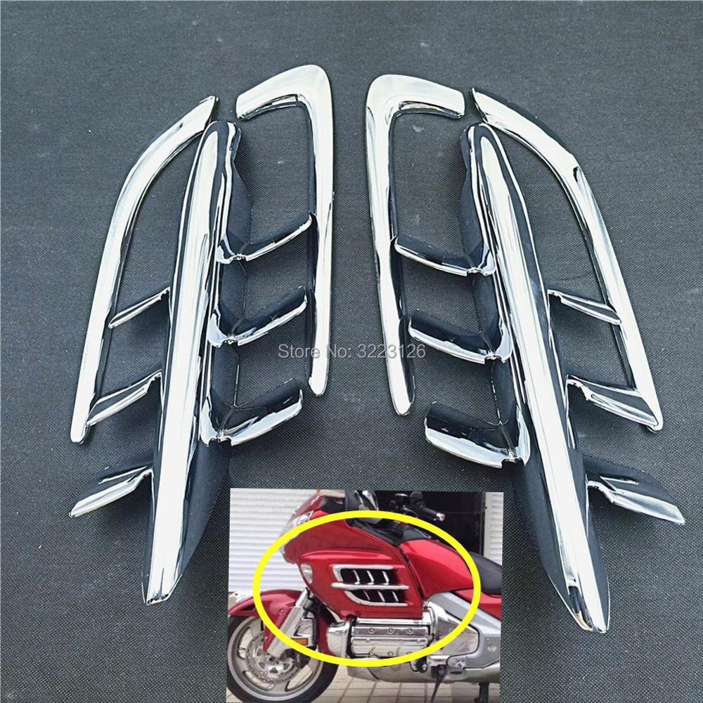 High Quality Motorcycle Chrome Shark Gills Fairing Accents Decoration Parts For Honda Goldwing GL1800 2001-2010 1 Set 6 Pcs