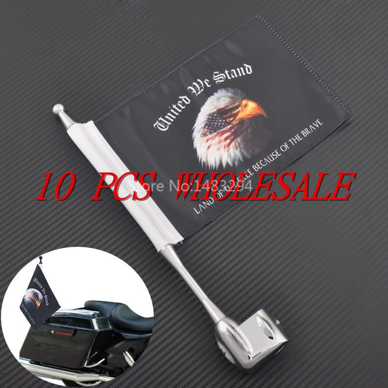 WHOLESALE 10 PCS Premium Flag Mast Kit Eagle Head USA Flag Pole Luggage Rack Vertical For