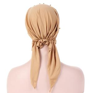 Image 5 - Muslimische Frauen Hijab Abaya Krebs Chemo Hut Innere Cap Perlen Haarausfall Kopf Schal Turban Kopf Wrap Islamischen Kappe Lange schwanz Bandanas