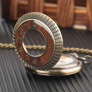 Image 3 - Conception en bois de luxe montre de poche mécanique Vintage exquis pendentif montre creux main remontage montre cadeaux chaîne en Bronze avec