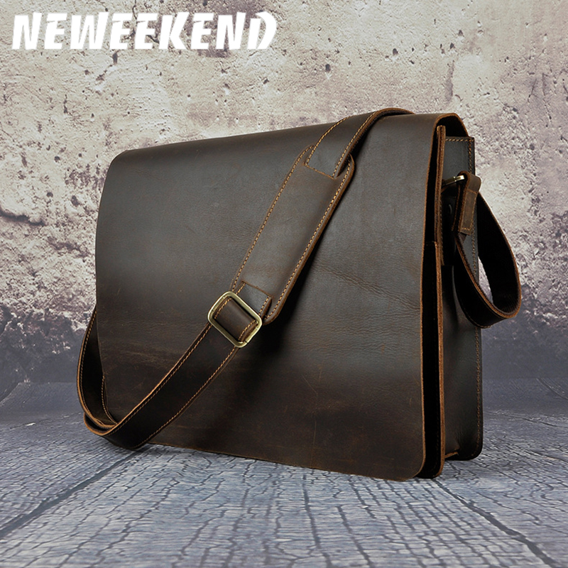 NEWEEKEND Retro Genuine Leather Cowhide Crazy Horse Small Messenger Shoulder Crossbody iPad Bag for Man A063