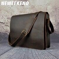 Shoulder Bag Retro Genuine Leather Fashion glamour men's span Crossbody iPad Bag Cowhide Crazy Horse Small Handbags for Man A063
