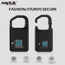 Anytek Car Alarm Systems P4 Fingerprint Lock USB Rechargeable Smart Keyless Anti-Theft Padlock Suitcase Door Bike Motor Bag