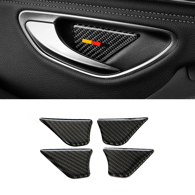 Image 2 - For Mercedes Benz C Class W205 C180 C200 C300 GLC260 4pcs Carbon Fiber Car Door Handle Bowl Cover-in Interior Mouldings from Automobiles & Motorcycles