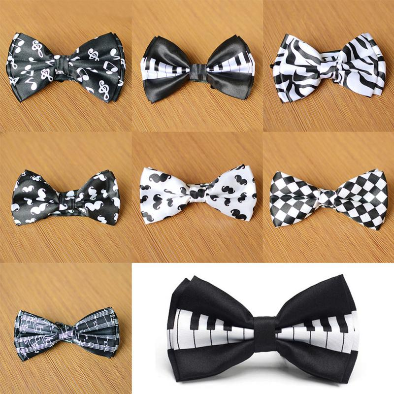 2 Pcs  Men Bow Tie Piano Keyboard Printed Bow Tuxedo Dress Bowtie Party Wedding Unisex Magician Waiter Bowties