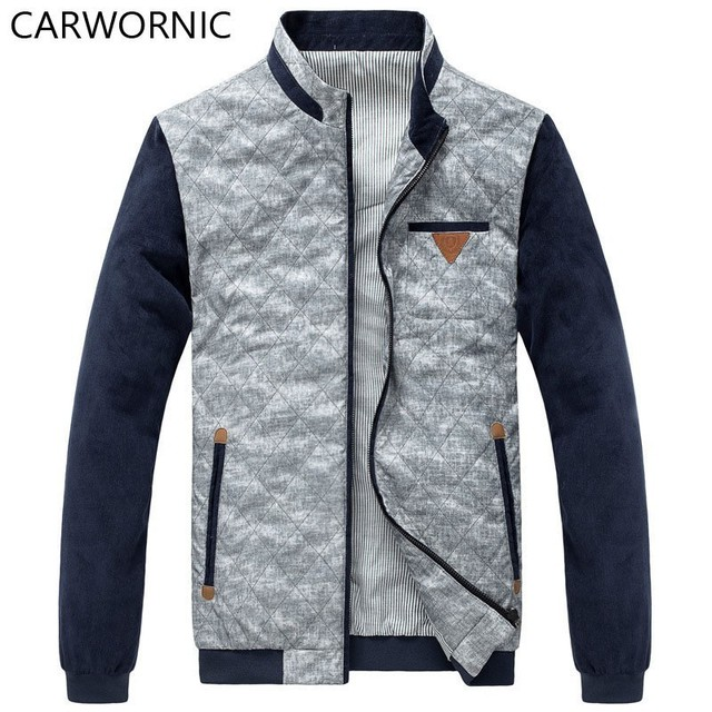 CARWORNIC Autumn PU Jackets Male Thin Jacket Standing Collar Clothes Cotton Casual Warm Fit Coat Fashion male Jackets