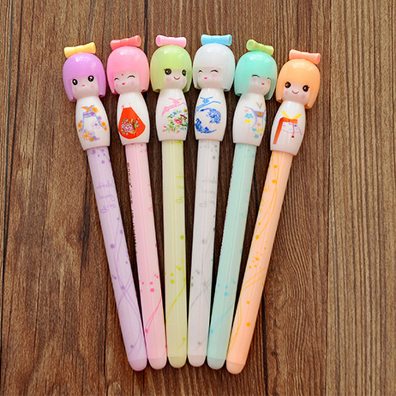 36 Pcs/Lot Cute Doll Gel Pen for Writing Japanese Kawaii 0.38mm Black Ink Pens Office School Supplies Canetas Escolar Japan Pen 2pcs cute panda shape gel pen 0 5mm black ink pen canetas criativa kawaii stationery office school supplies