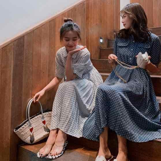 LANMREM 2019 летняя одежда для женщин Новая мода Корея милые, в крапинку печати шифоновое платье повседневное короткий рукав свободные Onguette YH329