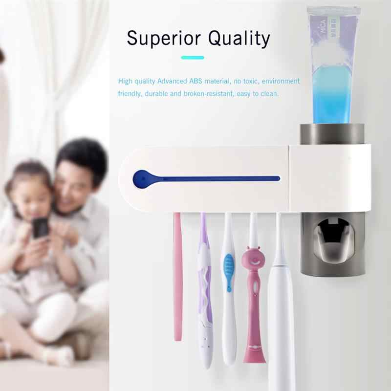 Sterilizer Toothbrush Holder 2 in 1 UV Light Ultraviolet Toothbrush Automatic Toothpaste Squeezers Dispenser Home Bathroom Set