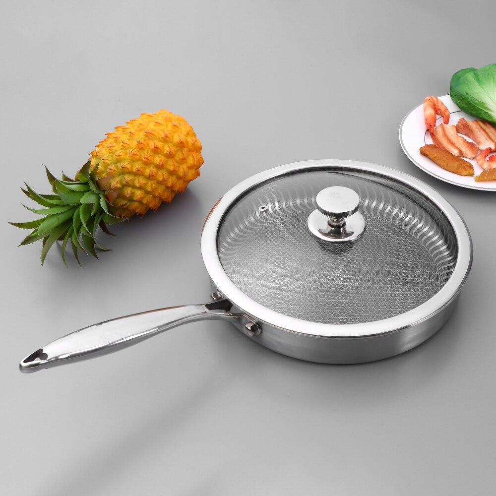 Stainless Steel Pan With Lid Nonstick Fry Pan Pancake Skillet Steak Grill Pan Saucepan Stockpot Fast Heat-up Food Cooker