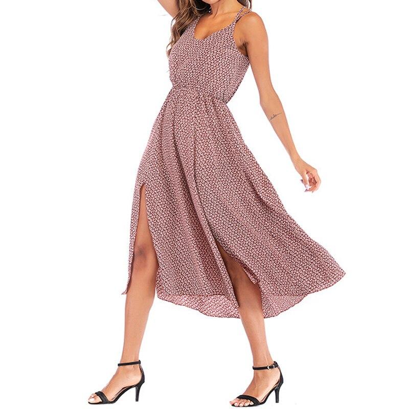 Ordonné 2019 été Offre Spéciale Femmes Décontracté Licou Taille élastique Taille Robe Sexy Floral Impression Sangle Robe Femme Vacances Vêtements De Plage