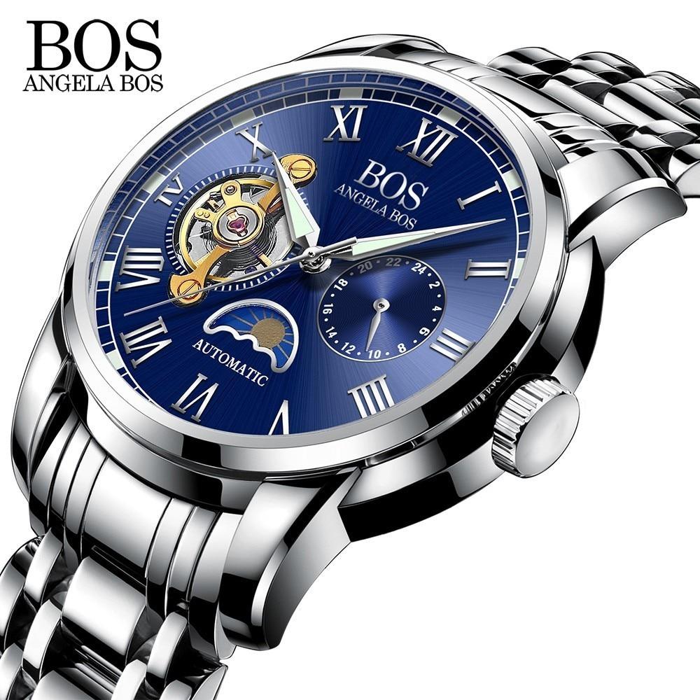 ANGELA BOS Czarny Mechaniczny Automatyczny Zegarek Mężczyźni Faza - Męskie zegarki - Zdjęcie 2