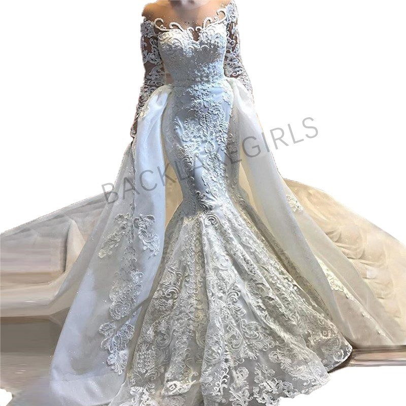 Wedding Dresses With Detachable Tail: Newest Sheer Neck Long Sleeve Mermaid Wedding Dress Bridal