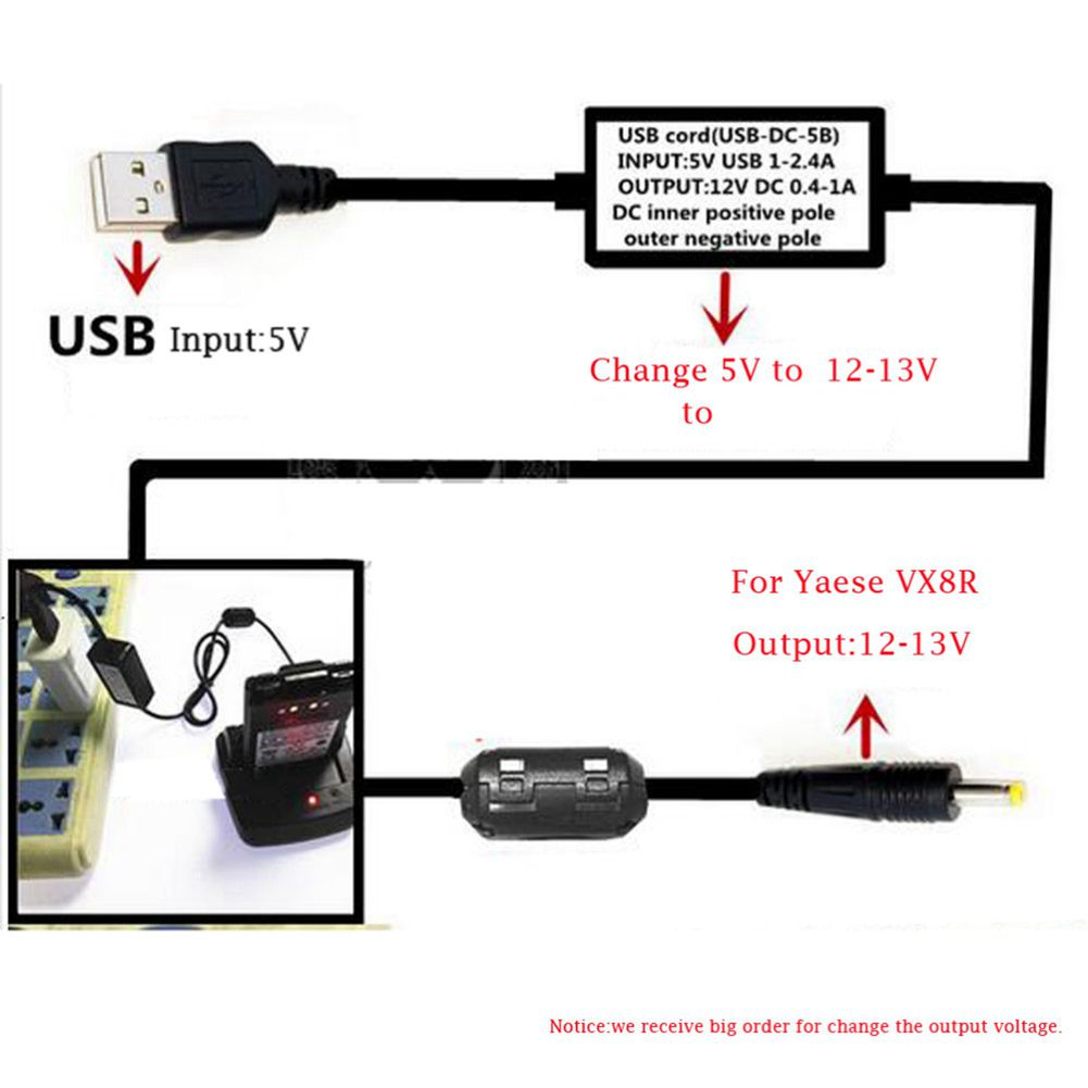 5V USB 1-2.4A VX3R-USB Charger Cable Charger for YAESU Walkie Talkie Battery MA