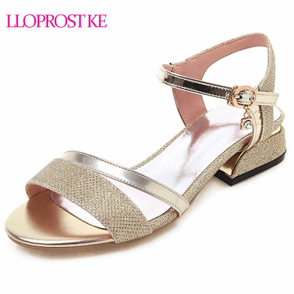 Lloprost ke 2019 mode gold silber frauen sandalen peep toe schnalle riemen schuhe frau starke ferse datum kleid schuhe weibliche h200