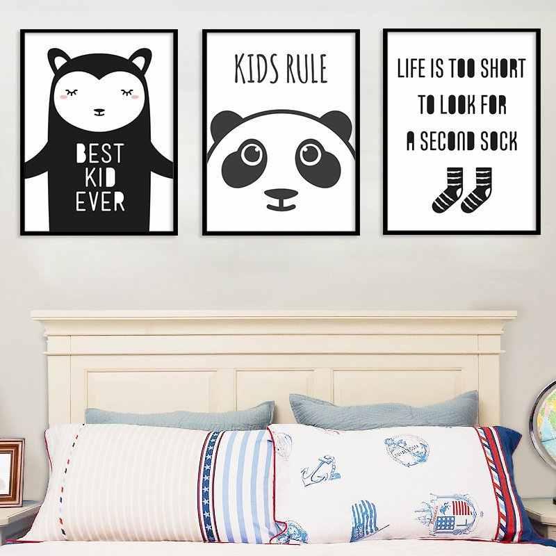 Quarto de menina do berçário decoração dos desenhos animados panda urso arte da parede lona cartaz e impressão quadros parede para sala estar