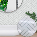 10pcs White Herringbone Tile Wall Sticker Oil-proof Waterproof Kitchen Home Decoration 15x15cm