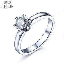 HELON Moissanite кольцо 925 пробы серебро 0.5ct VVS/FG Лаборатория Grown Moissanite алмаз обручальное кольцо для женщин Свадебные модные ювелирные изделия