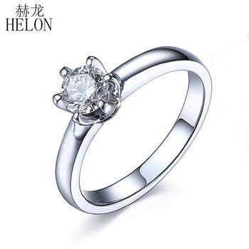 HELON Moissanite Ring 925 Sterling Silver 0.5ct VVS/FG Lab Grown Moissanite Diamond Engagement Ring Women Wedding Trendy Jewelry