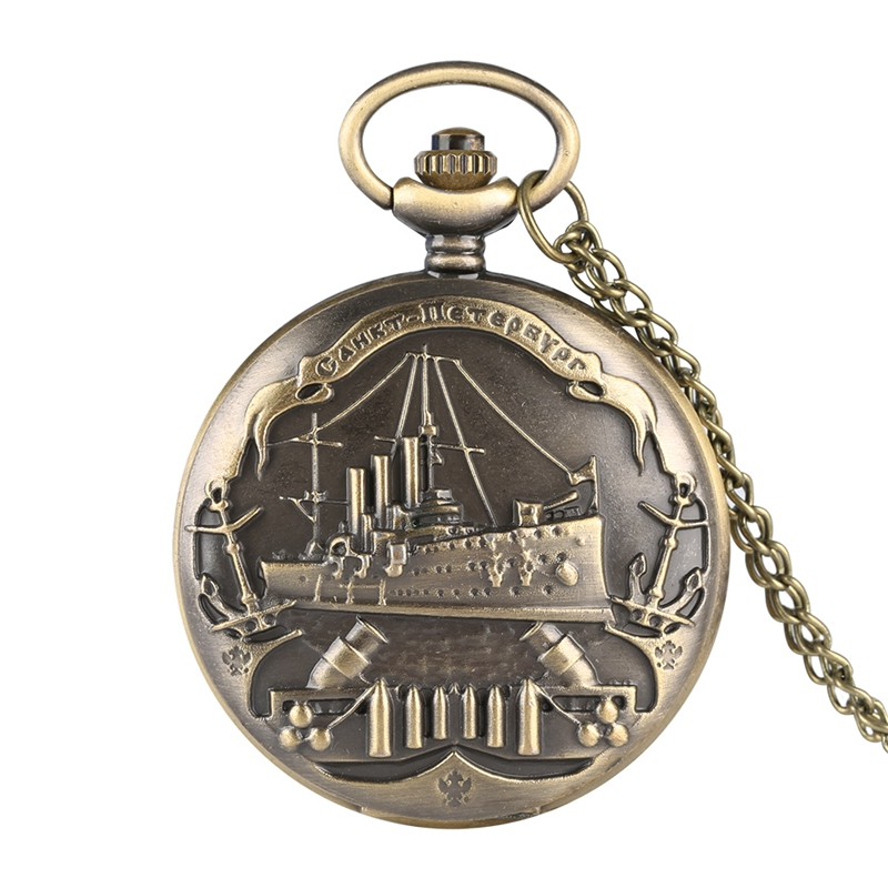 Bronenosets Potemkin Quartz Pocket Watch Retro Warship 3D Pattern Military Necklace Pendant Souvenir Clock Gifts For Men Women