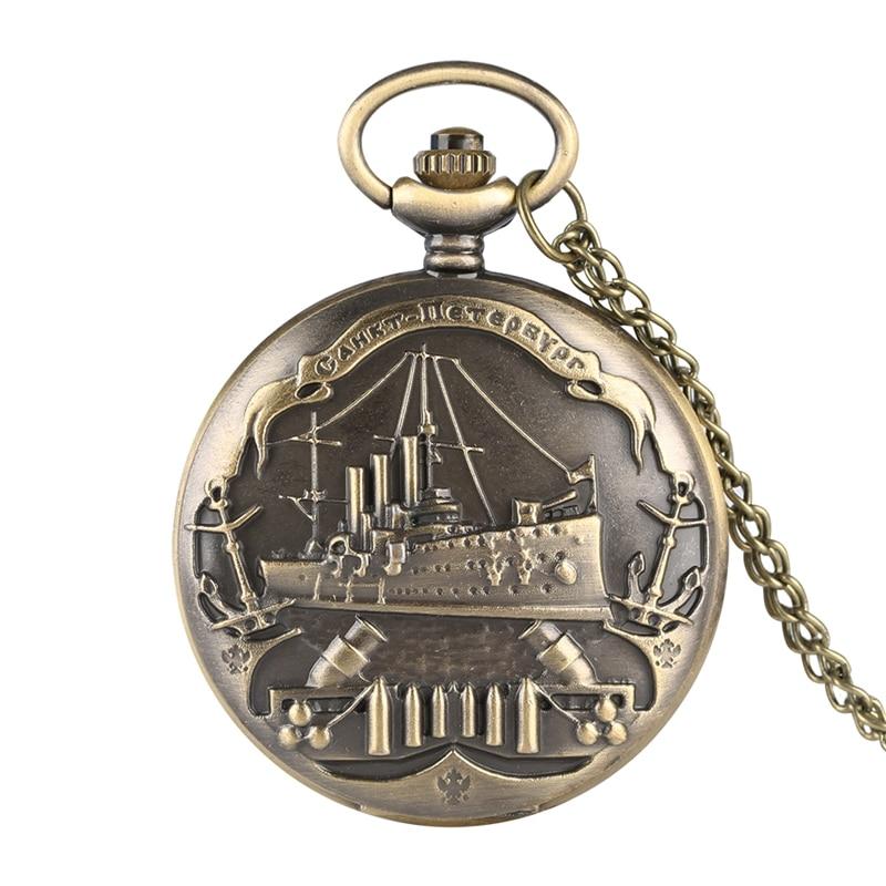 Bronenosets Potemkin Quartz Pocket Watch Retro Warship 3D Pattern Military Necklace Pendant Souvenir Clock Gifts For Men Women