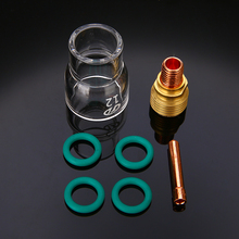 цена на Mayitr 7PCS Torch TIG Welding Stubby Gas Lens #12 Pyrex Cup + Collets Green O Ring Kit Set For WP-9/WP-20/WP-25