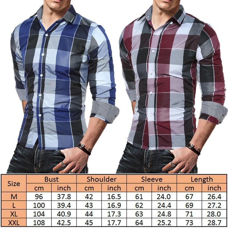 Men Plaid Cotton Shirt Long Sleeve Classic Slim Fit Button Down Casual Shirt Top