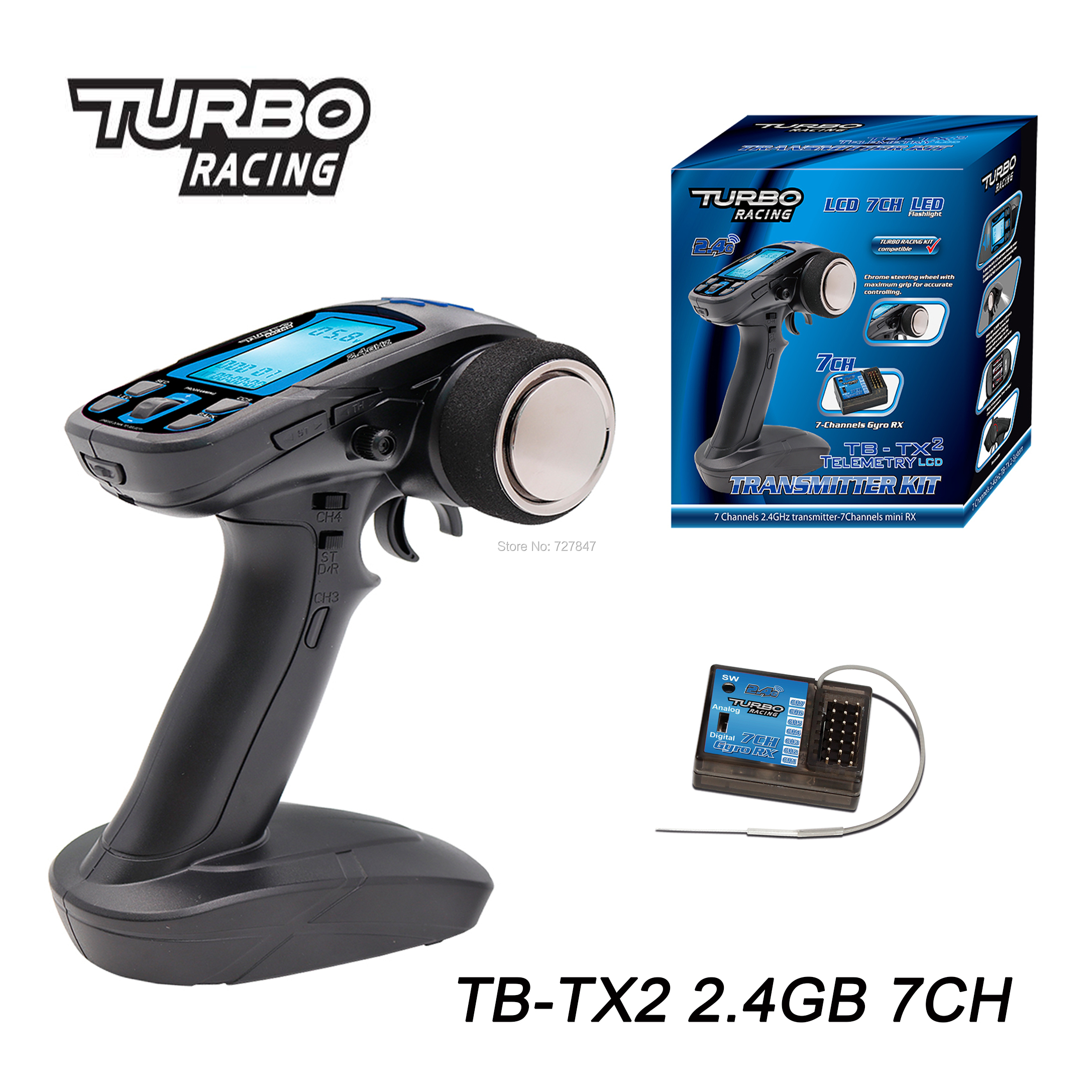 TURBO Racing TB TX2 2 4GHz 7CH Gun RC Radio system controller remote control with Receiver
