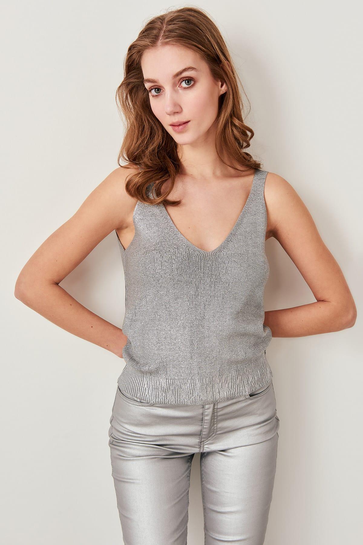 Trendyol Gilded Gray Sweater Tops Summer TOFSS19DU0033