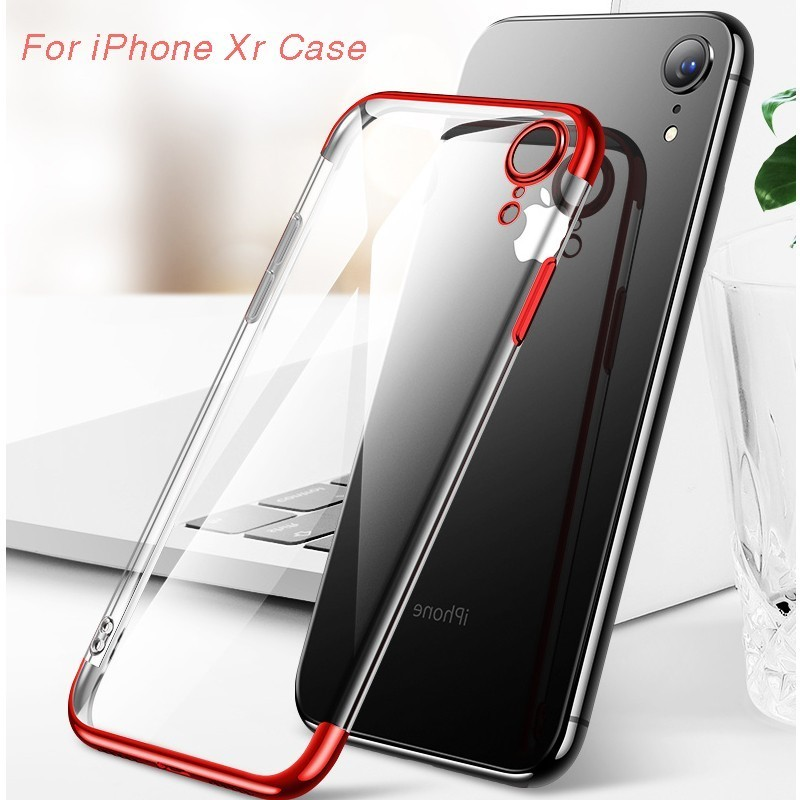 For Iphone Xr Case X Cover Soft Transparent Tpu Plating 7 6 6s 8 Plus Xs Max