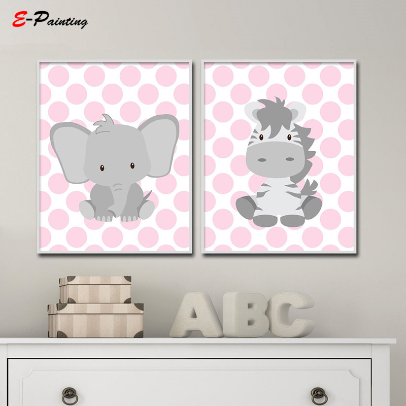 US $3.75 25% OFF|Modern Girls Pink and Grey Polka Dots Art Canvas Painting  Elephant and Zebra Nursery Wall Art Print Bedroom Decor-in Painting & ...