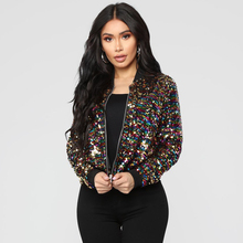 Women Bomber Jacket Colorful Sequin