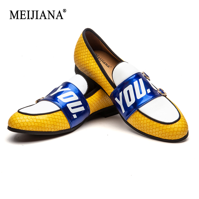 MEIJIANA 2019 New Listing Yellow Men Shoes Handmade Comfortable Leather Men s Loafers Wedding Shoes Men