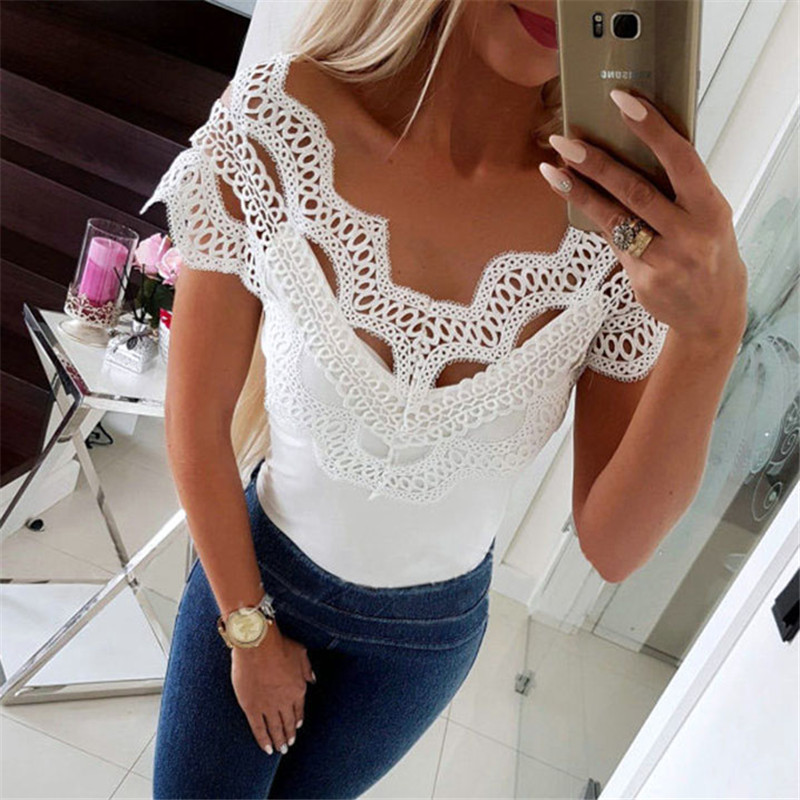 Summer Women Sexy Lace Top Off Shoulder V Neck Hollow Out Tee Shirt Femme Ladies Short Sleeve T Shirt Dames Fashion Tshirt