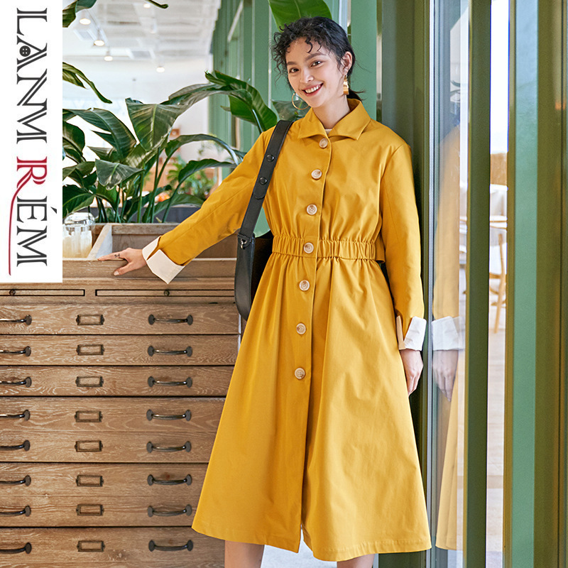 LANMREM 2019 Single-breasted Large Swing Yellow Long Type   Trench   Coat For Women New Fashion Overcoat Female's   Trench   YG49507