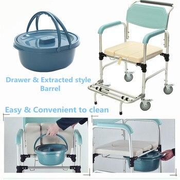 Wheelchair Elder Folding Chair 3-in-1 Commode Bedside Toilet & Shower Seat Bathroom Rolling Chair Aluminum Alloy Waterproof Туалет