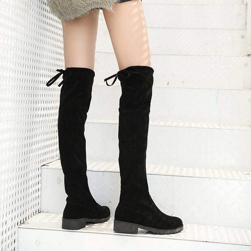 Larga Rodilla Cuadrada suede Moda Felpa Zapatos Las Tacón Por Alto Mujeres No La Invierno Botas Encaje Mujer Corta Encima 2019 Gamuza Plush De T0qAW6w