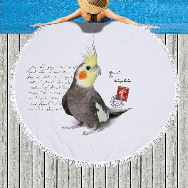 Carino Animale Uccello del Pappagallo Rotondo Telo da mare Con Nappe In Microfibra Spiaggia Zerbino Coperta Da Bagno Piscina A Secco Tovagliolo De Plage Adulti
