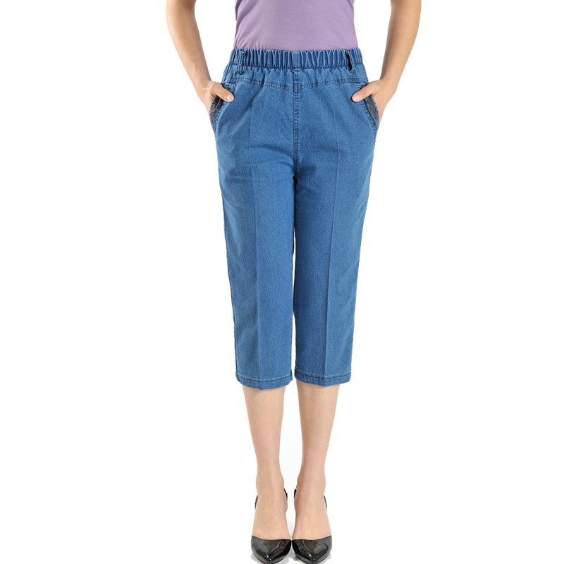 Casual   Jeans   Capris Female Summer Women Stretch Thin Calf-Length Denim Pants High Waist Plus Size   Jean   For Woman