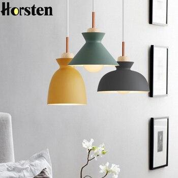 Fashion Colorful Modern DIY Wood Pendant Lights Minimalist Hanging Lights Suspension Luminaire Dining Room Lights Pendant Lamp