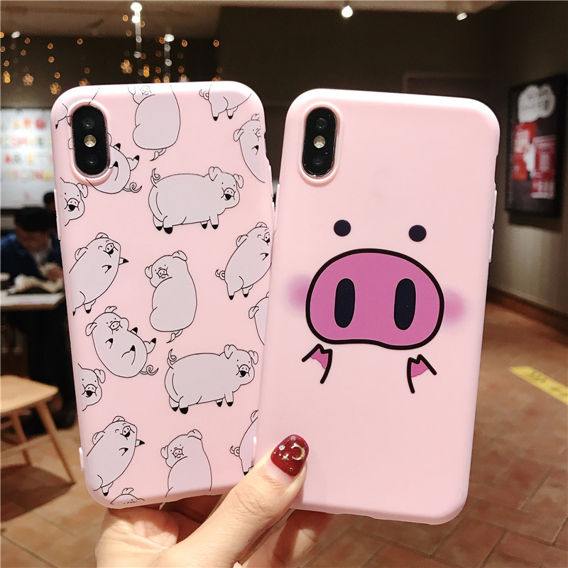 Ottwn Phone Case For IPhone 11Pro Max XS Max XR 7 8 6 6s Plus 5 5s SE Couples Cartoon Cute Pig Soft TPU Silicone Back Cover Case