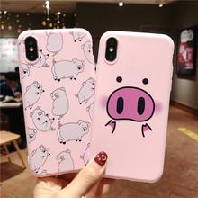 Ottwn etui na telefon iPhone 11Pro Max XS Max XR 7 8 6 6s Plus 5 5S SE pary kreskówka śliczna świnka miękka silikonowa obudowa z tpu tanie tanio Aneks Skrzynki Śliczne Zwierząt Cytaty i Wiadomości Wzorzyste Cute Animals Pig Dog Duck Kitten Pattern Printed Design Phone Case