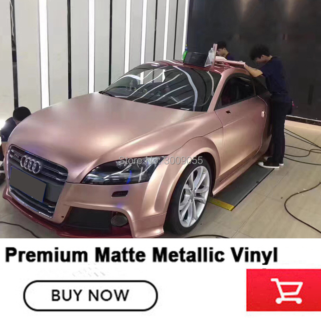 best Satin rose gold Vinyl Car Wrap Film With Air release For Vehicle Wrapping Cover matte metallic Vinyl German glue 1.52*20m